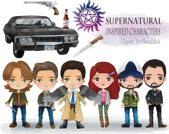 Supernatural inspired characters clipart instant Download PNG file - 300 dpi.
