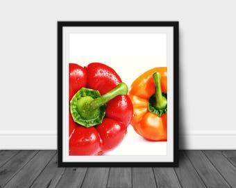 Kitchen Art Decor, Downloadable Kitchen Art, Digital Print Art, Pepper Art, Gift for Cooks and Chefs, Decorative Kitchen Print, Bell Pepper