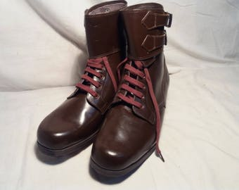 Vintage 1960 's Bulgarian Army Brown Leather Officer's Boots - NEW