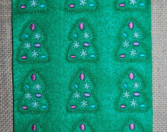 RTS Christmas Tree with Ornaments ~ Embroidered Feltie Sheet