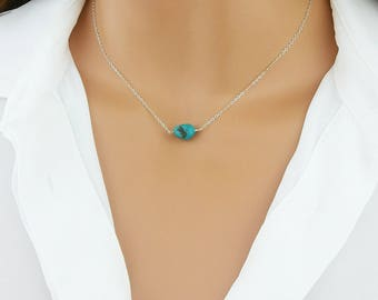 Turquoise Necklace, Turquoise Pendant, Turquoise Necklace Silver, Turquoise Necklace Gold, REAL Turquoise, Silver, Gold, Rose Gold, TL