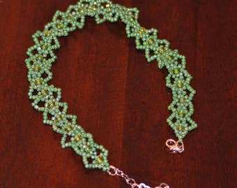 Hand beaded Steampunk Anklet - Green with Hints of Yellow Seed Bead Anklet - Funky Anklet
