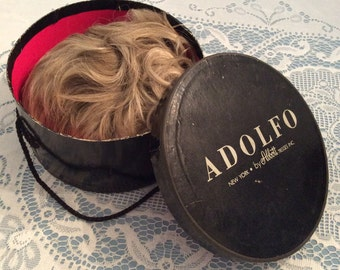 ADOLFO WIG BOX With 2 Wigs Blonde and Brunette Vintage 1960s