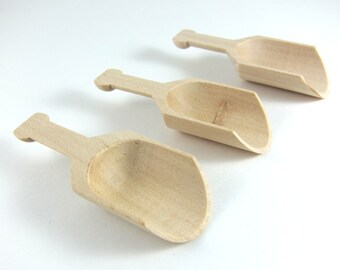 Small Wood Scoops - Unfinished Wood Scoop - Party Favor, Candy Buffet, Waldorf-inspired Play