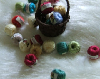 Six Dollhouse Miniature Needlework Wool Yarn Balls