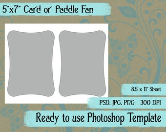 "Scrapbook Digital Collage Photoshop Template, A7 5"" x 7"" Rounded Card, Paddle Fan Template"