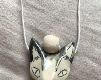 Black&white cat necklace
