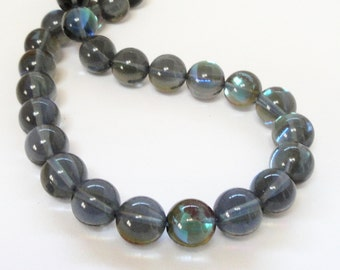 """Moonstone Beads - Blue Round Moonstone Glass Beads - Flashy Fire Smooth Stone - DIY Bridal Necklace Beads - Jewelry Making - 10mm 15"""" strand"""