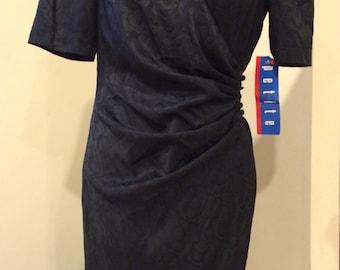 Vintage 1980's Black Wrap Around BNWT Rockabilly Pin Up Dress