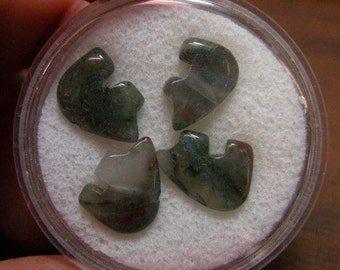 Seftonite Bloodstone Tiny Zuni Bear Beads you get Four in a Gem Jar