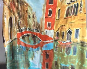 Venice Silk Scarf Crepe de Chine Shawl Luxurious scarves & wraps Wedding accessory Handpainted silk scarf Designer scarf Silk Painting KA18