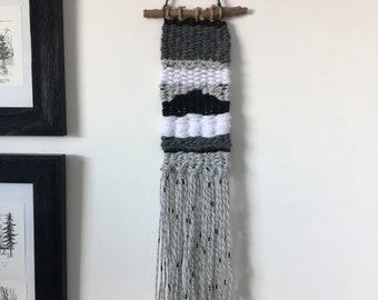 Black and Grey Woven Wall Hanging - Small Weaving - Gray Weaving - Black Grey White Woven Tapestry - Boho Decor -  Stick Branch