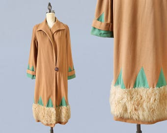 1920s Coat / 20s Art Deco Jacket / Triangle Motif / Fur Trim / Lightweight Wool Coat