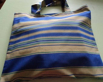 Tote bag-striped cotton blue/yellow color of the summer for the beach or out