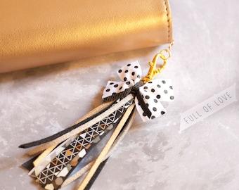 Black and white tassel planner charm, tassel charm, Bow charm, Journal charm, Midori charm, travelers notebook charm, Planner supplies