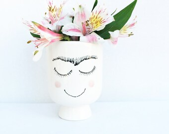 Frida Khalo Vase or Planter, Ceramic planter, Ceramic Flower Vase