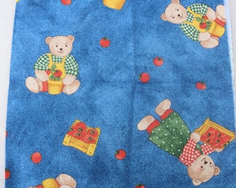 BLUE background cotton fabric coupon ideal for patchwork Teddy bear