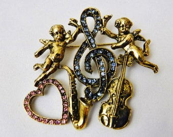 Music Brooch/Pin/Cherub Valentine Brooch/Rhinestone Treble Clef/Violin/Saxophone/Heart/Antiqued Gold Tone with Pink & Blue/Vintage Jewelry