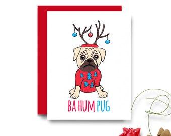 PUG Christmas Card - Bah Hum PUG - Christmas Card - Funny Dog Christmas Card