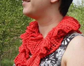 Pdf knitting pattern, scarf, scarflette, neckwarmer, lace, skinny, ruffled, long, beads Balera