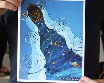 Rowing a Boat Through Space; Fine Art Print