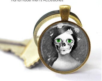 GOTHIC Woman SKULL Key Ring • Skull Face • Human Anatomy • Halloween Skull • Day Of The Dead • Gift Under 20 • Made in Australia (K472)