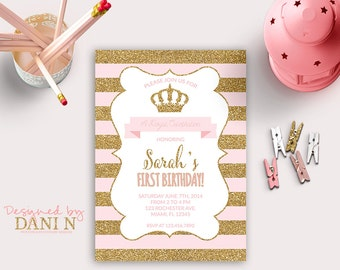 Princess INVITATION, First Birthday Party, gold glitter sparkle printable invite, crown pink and gold, stripes Any Age Birthday Party diy
