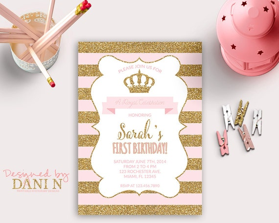 Brand new Princess INVITATION First Birthday Party gold glitter HO41