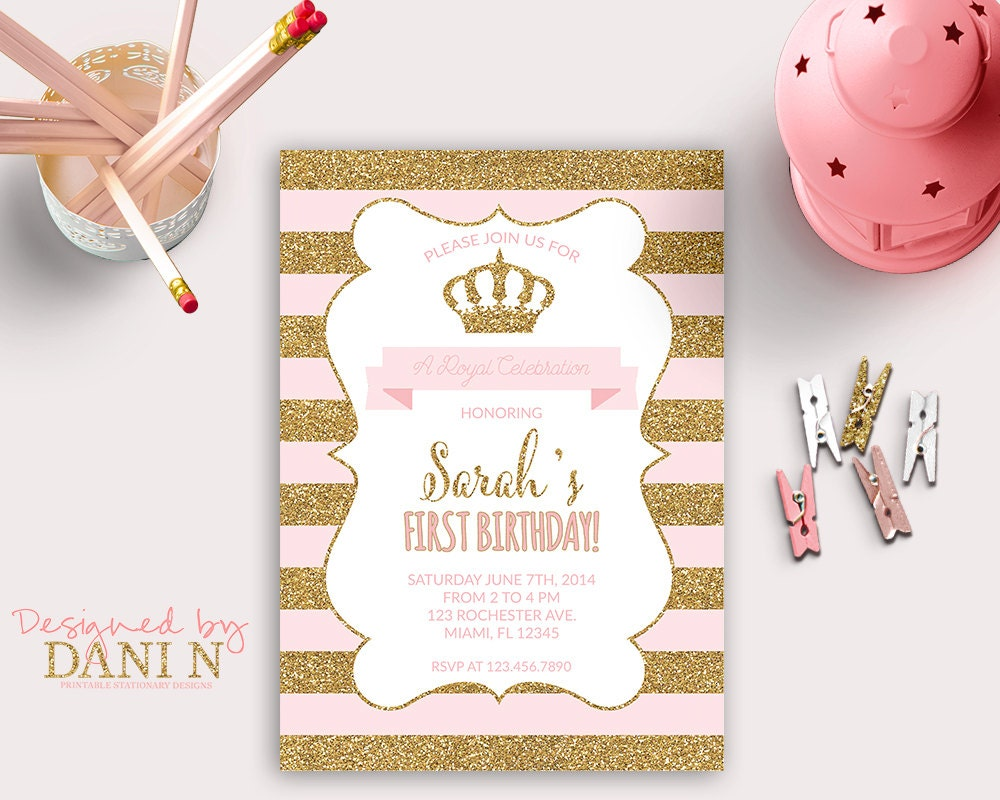 Princess INVITATION First Birthday Party gold glitter