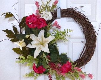 Summer Wreath, Spring Wreath, Wildflower Wreath, White Lily Flowers Wreath,Door Wreath