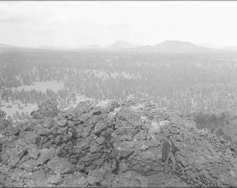 Poster, Many Sizes Available; Cinder Cones Near San Francisco Mountain, Coconino County, Arizona. Close-Up Of A Man Standing In Right Foregr