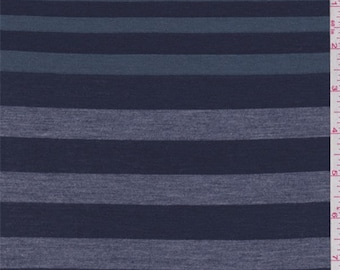 Navy/Jade/Grey Stripe Rayon Jersey Knit, Fabric By The Yard