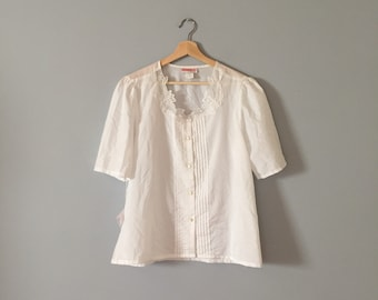CUT OUT sheer embroidered top | porcelain white semi sheer blouse | 1970s white poet blouse