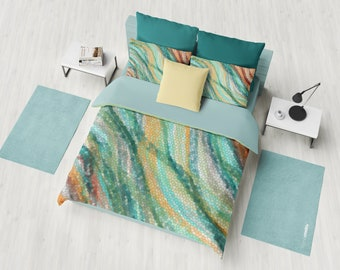 Warm Colors Duvet Cover or comforter  - Wavy Teal and bronze - bedroom linens, Earth tones bedding, decor
