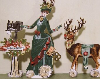 Christmas Decoration Paper Doll - INSTANT Download - 3D Greeting Card Digital Download - Photographer Reindeer Camera XP5D