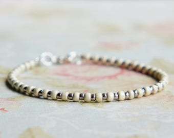 Silver And White Bracelet, Seed Bead Bracelet, Stacking Bracelet, Beaded Bracelet, Minimalist Bracelet, Dainty Bracelet, Simple Bracelet