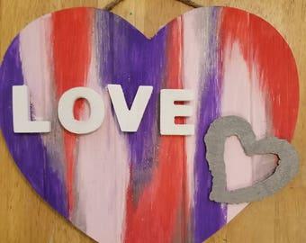 """Valentines """"Love"""" Hand-painted Door Hanger"""