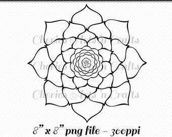 Digi Stamp Flower, Succulent Digi Stamps, Line Art Flower, PNG Line Art Flower, Digital Download Graphic, Clip Art, Coloring Page, Succulent
