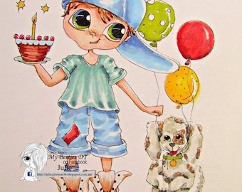 INSTANT DOWNLOAD  Digital Digi Stamps Big Eye Big Head Dolls img604 LaMouse April Bestie By Sherri Baldy