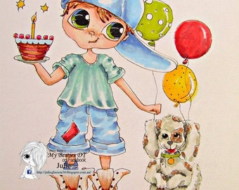 INSTANT DOWNLOAD digitale Digi Stamps Big Eye Big Head poppen img604 LaMouse April Bestie door Sherri Baldy