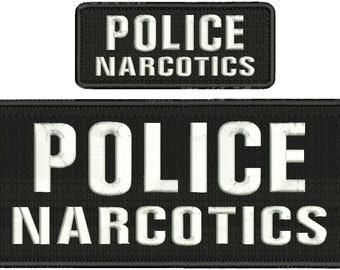 Police Narcotics Embroidery Patch 10x4 and 5x2 inches Hook backing White letters