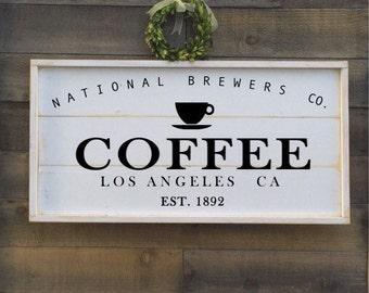 Coffee sign, framed shiplap, vintage kitchen sign