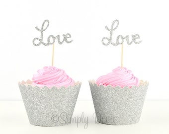 Silver Glitter Love Cupcake Topper, Love Silver Glitter Cupcake Topper, Party Decorations, Wedding