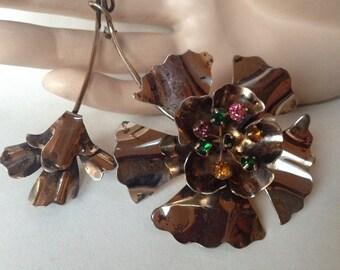 Large Floral Spray Big Flower Sterling Vermeil Brooch – 1940s Retro Jewelry