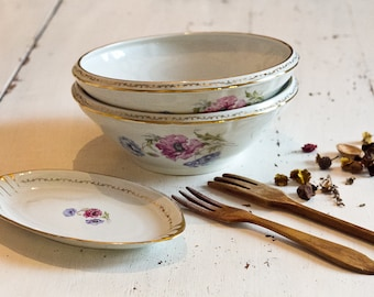 Two large bowls and 1 small dish, porcelain Limoges 1950's, porcelain bowl and bowl porcelain Vintagefr