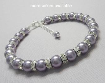 Light Purple Bridesmaid Gift, Swarovski Mauve Light Purple Pearl Bracelet, Bridesmaid Bracelet, Wisteria Jewelry, Mother of the Groom Gift