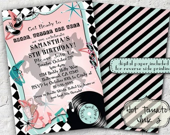 1950s sock hop invitation- retro invitation- 1950s-birthday invitation-rock and roll- Digital Printable Invitation 5x7
