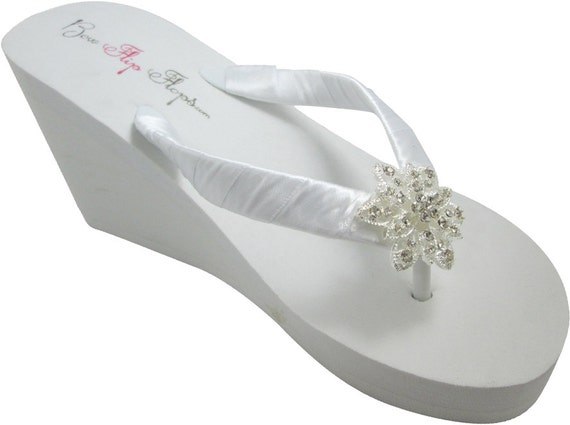 ivory Flop wedge White heel Wedding height 3 5 inch Sandals Flip bridesmaids bride Flower Choose Vintage 007AqO