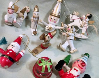 Lot Wooden Christmas Ornaments