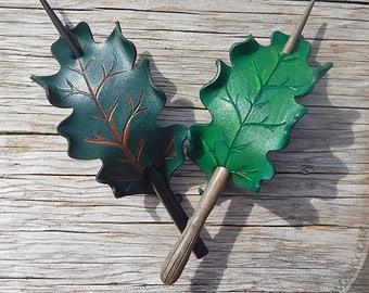 Green Oak Leaf Leather Stick Barrette in Light Green or Dark Forest, Versatile Dryad Hair Slide or Shawl Pin in Rounded White Oak Shape